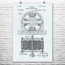 Tesla Electromagnetic Motor Poster Art Print Tesla Poster Tesla Wall Art Gift