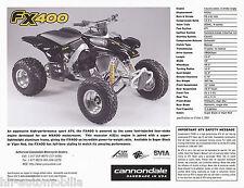 CANNONDALE FX 400 ATV prospetto (GB) 2000 brochure veicolo fuoristrada AMERICA USA