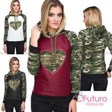 Ladies Casual Camouflage Army Hoodie Long Sleeve Military Hoody Sweatshirt FZ93