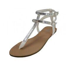 New Women's White Gladiator Rhinestone Beach Bridal Flats Sandals Shoe's 6 - 11