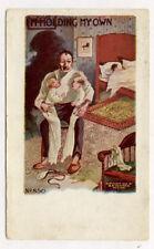 1906 SAD DAD W/ TWIN BABIES MOM ASLEEP POSTCARD PC5806