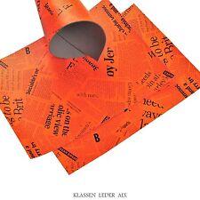 Buffalo Leather Neon Orange Newspaper Design 2,4 mm Thick Cowhide Piece 26