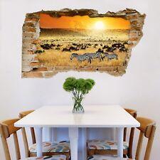 3D Sunset Zebra Animal 4 Wall Murals Wall Stickers Decal breakthrough AJ WALL CA