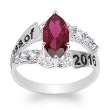 JamesJenny 10K White Gold 2016 Graduation Ring Marquise Garnet CZ Size 4-9