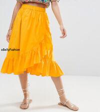 Women Girl Cotton designer Wrap Midi flamenco Skirt Ruffle Hem Pleated Retro