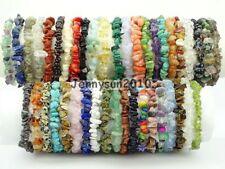 Natural Gemstone 5-8mm Chip Beads Stretchy Bracelet Healing Reiki Chakra