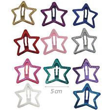 2 Fermacapelli Clic clac Stella Metallo colore Argento Glitterato Brillantini