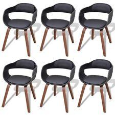 Chaises de salle à manger en bois cintré avec revêtement en cuir artificiel