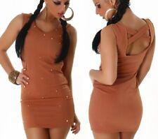 Sexy señora fiesta dress mini vestido de oro tachuelas piedras s 34 m 36 l 38 Caramel nuevo