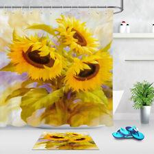 Sunflowers Style Waterproof Fabric Shower Curtain Set Bathroom Accessory Hooks