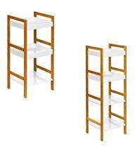 White High Gloss Finish Shelf Unit With Bamboo Frame Storage Chic Elegant