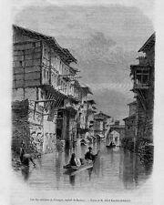 Stampa antica INDIA Veduta di Srinagar Jammu 1858 Old Print