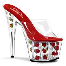 Pleaser ADORE-701 Ladies Platform Mules  Rose Clear  Heel Stripper Shoes