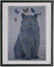 British Shorthair Cat Print No.92, dictionary art, housewarming gift, cat poster