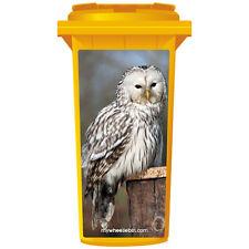 WHITE OWL ON POST WHEELIE BIN STICKER PANEL