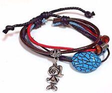 Leather Wrist Rope Bead Charm Friendship Bracelet - Girl Charm - 2 Designs