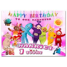 G005 Scheda Personalizzato Compleanno; qualsiasi nome età; nella notte giardino TELETUBBIES