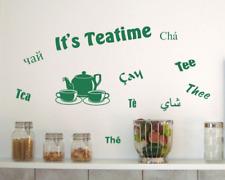 Wandtattoo Küche 'It's Teatime' Tee 25 Farben 8 Größen Wandaufkleber Wandsticker