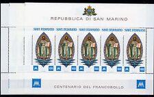 1977 SAN MARINO 4 FOGLIETTI CENTENARIO PRIMO FRANCOBOLLO INTEGRI B/5874