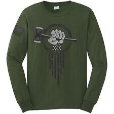 Logger long sleeve t-shirt - lumberjack logging ax patriotic superhero shirt