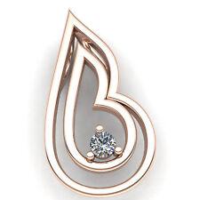 Natural 0.5carat Round Cut Diamond Ladies Heart Fancy Mom's Pendant 18K Gold