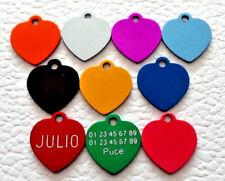médaille gravée petit coeur alu pour chat chaton mini chien 10 couleurs