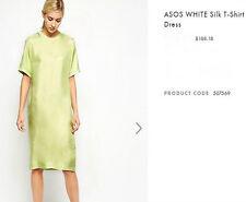 NWT $180 Designer `WHITE' Collection Italian Silk Midi T-Shirt Dress  8-16 Mela