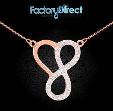 14k Rose Gold Infinity Heart Pendant Double Mount Necklace Diamonds Love Trust
