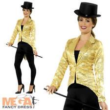 Oro Lentejuelas frac Damas Vestido Elegante Cabaret Traje de Disfraz chaqueta para mujer corista