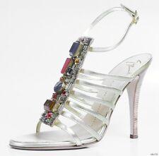 new $995 Giuseppe ZANOTTI gold JEWELED T-strap heels shoes 37.5 7.5 - AMAZING