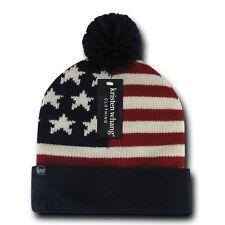 1 Dozen American USA Flag Stars Stripes Beanies Caps Hats Pom Pom Wholesale Lot