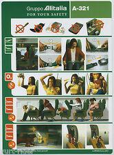 Gruppo Alitalia A-321 plastic safety card - 64502020 - very good cond sc489