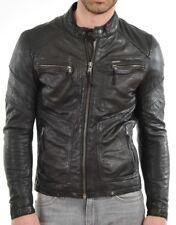 New Black Men Lambskin Motorcycle Genuine Leather Jacket Size XS M L XL XXL 922A