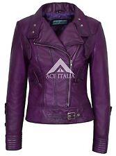 Ladies Leather Jacket Purple Biker Motorcycle Army Style 100% REAL NAPA 4110