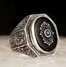 Turca 925 Sterling si̇lver Especial Negro Onyx Piedra Anillo de hombre para hombre todos nosotros si̇ze
