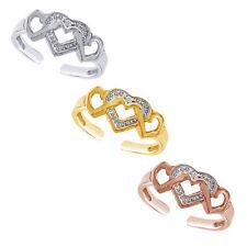 10K Yellow Gold Round Cut Diamond Heart Toe Ring