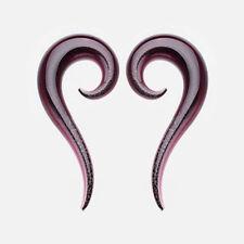 PURPLE DICHROIC GLASS EAR TAPER ENIGMA SPIRAL FLESH PLUG STRETCHER HANGER TUNNEL