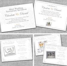 Personalised Silver 25th Wedding Anniversary Invitations Invites