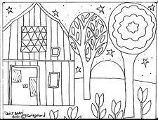 Rug Hook Craft Paper Pattern QUILT BARN Folk Art ABSTRACT Primitive Karla Gerard