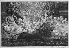 "MODERN decorative CANVAS/PAPER of antique engraving ""FIREWORK Display-Lion"""