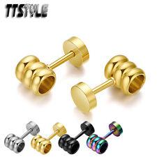 TTstyle Stainless Steel Fake Ear Plug Earrings Pair 4 Colours
