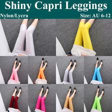 Women's Shiny Capri Leggings Yoga Pants Solid Spandex Lycra Nylon Active Workout