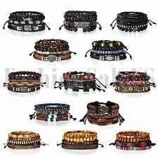 4pcs Leather Lots Bracelets for Men Women Wooden Beaded Bangle Braided Wristband