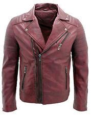 Para hombre calce ceñido estilo Borgoña Cremallera de doble cruz Brando 100% chaqueta de cuero de motorista