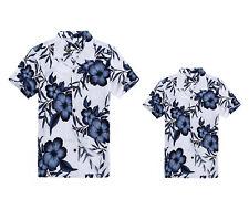 Matching Father Son Hawaiian Luau Outfit Men Shirt Boy Shirt White Navy Floral