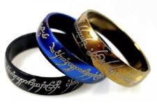 Bague acier Seigneur des Anneaux noir, bleu ou doré