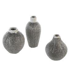 CASABLANCA*Design*miniatur*Vase*MIKO*Keramik*silber&weiß*3fach sortiert*9-12,5cm