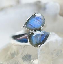 Handarbeit Ring Silber 56 60 Labradorit Blau Grün Silberring Elegant Schlicht