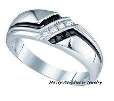 Homme 10k or Blanc Twilight Diamant Noir Stupéfiant Anneau Bague .22ct