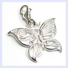 Sterling Silver Filigree Butterfly Bug Clip On Bead for European Charm Bracelet